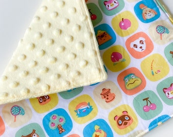 """Animal Crossing Tiles Baby Blanket Lovey 8"""" x 9"""" 
