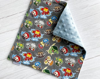 Kawaii Marvel Avengers Baby Blanket Lovey - 3 Sizes | Super Soft Luxe Minky, Faux Fur or Sherpa | Security Object
