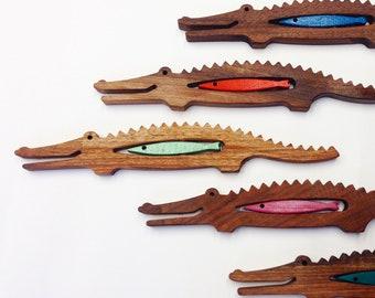 Natural walnut wood music instrument Crocodile & colored fish, personalized montessori or waldorf toy