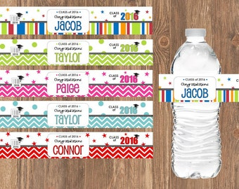 "35 Graduation WATER BOTTLE LABELS - Party Decoration Favor Wrapper - 8.1875"" x 1.375"" -- 2018"