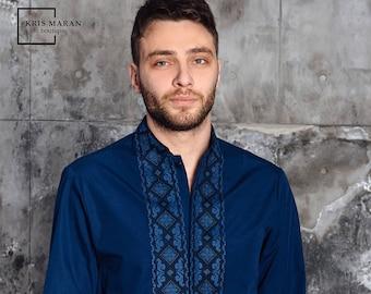 Man embroidered shirt, ukrainian embroidered shirt, slim fit, man ethic clothing, чоловіча вишиванка, Embroidered Groom Shirt