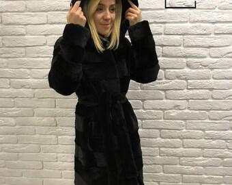 Fur Coat, Real Fur Jacket, Black Fur Coat, Rabbit Fur Coat, Rabbit Coat, МЕХА, Best Present, Black Stole, Brand NEW Fur Coat