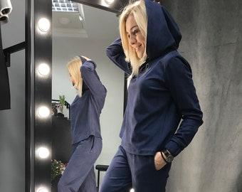 Suede Women Suit, Navy blue suede suit, Women Casual Sport Suit, Women Pantsuit, Suede Pantsuit, hooded suit and pants