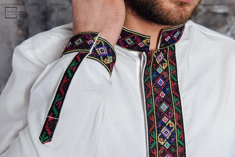 757e6c56fc Man embroidered shirt, cross stitch embroidery, slim fit shirt, white  embroidered shirt, ukrainian man shirt, ukrainian embroidered shirt