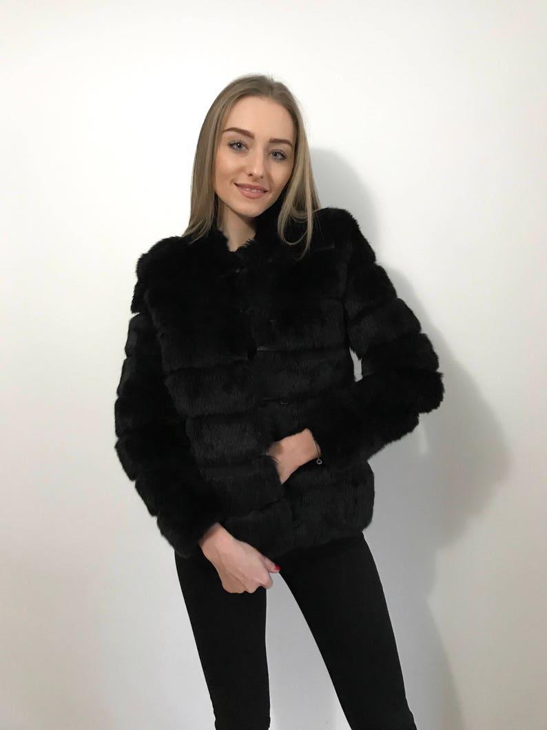 44527d6151 Real Fur Jacket Short Fur Coat rabbit Fur jacket Luxury