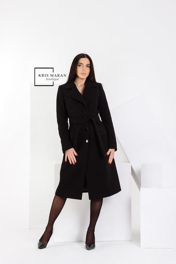 quality design c00c6 e56df Schwarzer Wollmantel, klassische Frauen Mantel, eleganter Mantel,  gefütterte Mantel, Maxi Mantel, Spring\autumn Mantel, schwarze Frauen  Mantel, ...