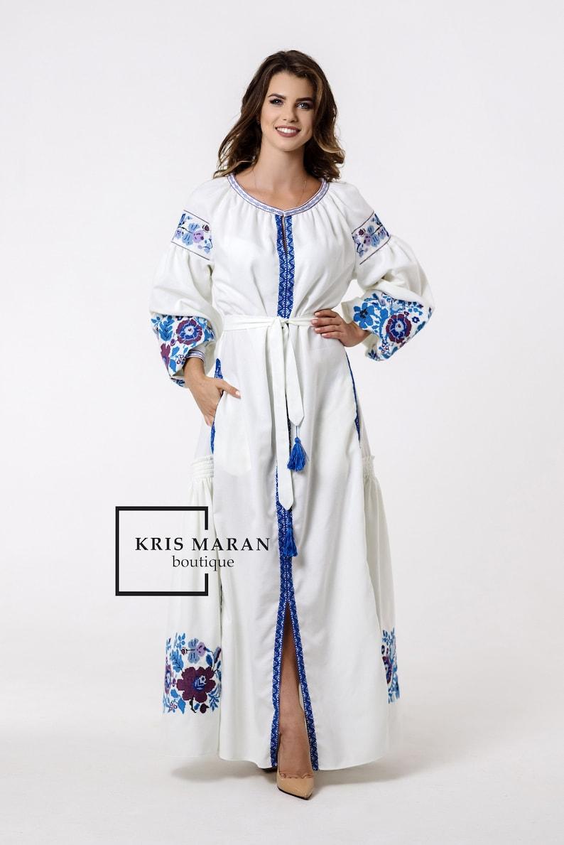 New Womens Embroidered Loose Dress Ukrainian Folk Ethnic Vita Kin Style Inspired