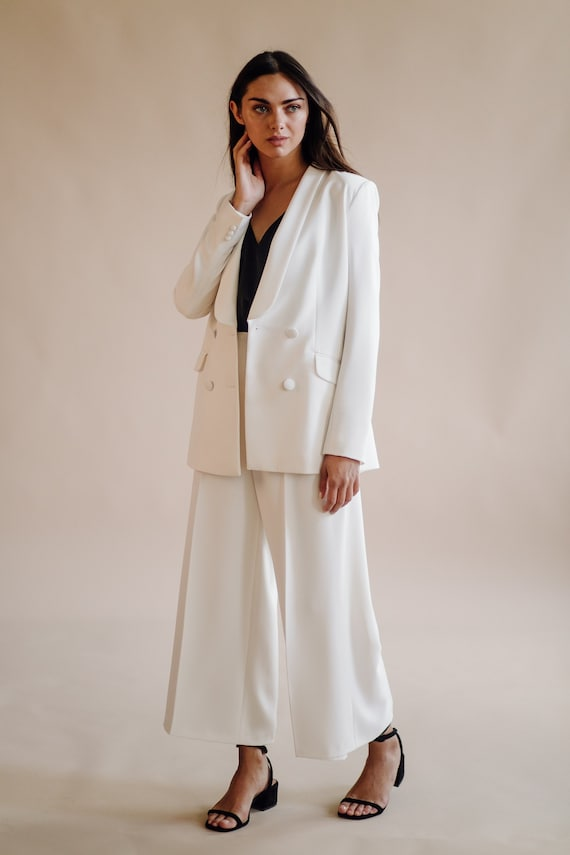 Anniversary White Suit Women Blazer With High Waisted Etsy