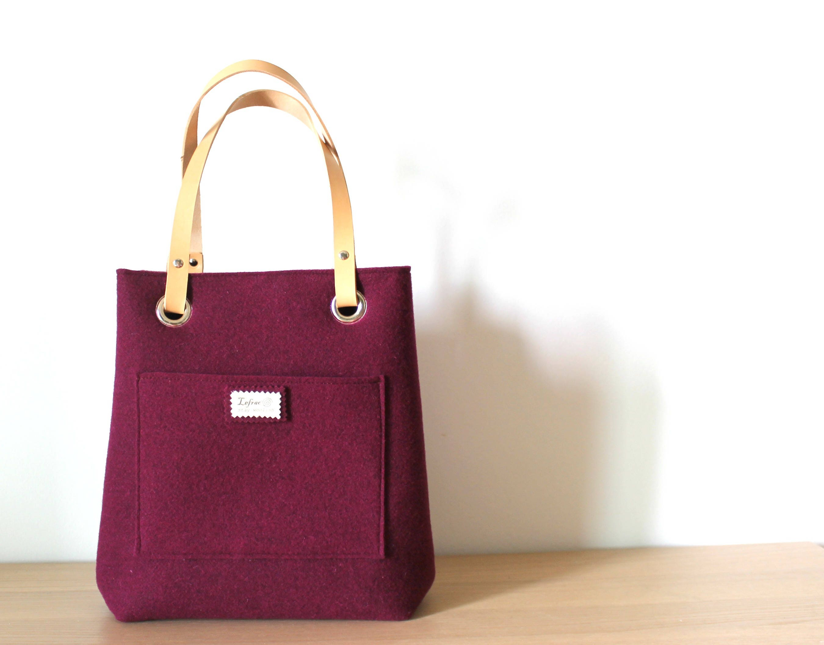 Medium Leather tote bag Felt Tote Leather handles tote  a0214cd9ade47