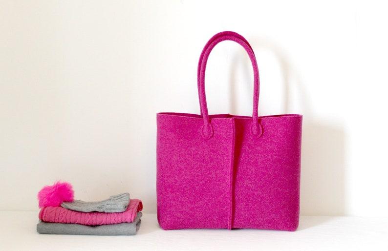 8b5aa5dcac5f Felt Shoulder tote Fuchsia Felt Tote Felt Bag Custom Bag | Etsy