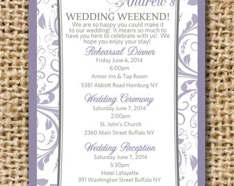 Wedding Itinerary for Hotel Bags