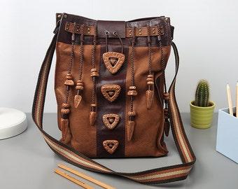 """Womens genuine leather bag """"Buttons"""", brown shoulder bag, a large leather bag, crossbody bag, vertical bag"""
