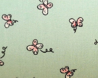 "Ditsy Butterfly on Mint Green - Print - 100% Cotton Poplin Dress Fabric - Metre/Half - 60"" (150cm) wide"