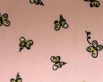 "Ditsy Butterfly on Pink - Print - 100% Cotton Poplin Dress Fabric - Metre/Half - 60"" (150cm) wide"