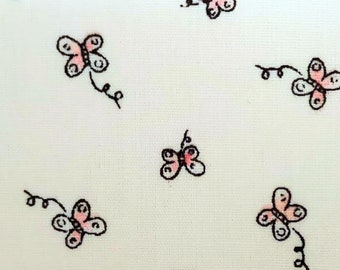 "Ditsy Butterfly on White - Print - 100% Cotton Poplin Dress Fabric - Metre/Half - 60"" (150cm) wide"