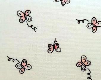"Ditsy Butterfly on White - Print - 100% Cotton Poplin Dress Fabric - Metre/Half - 60"" (150cm) wide"