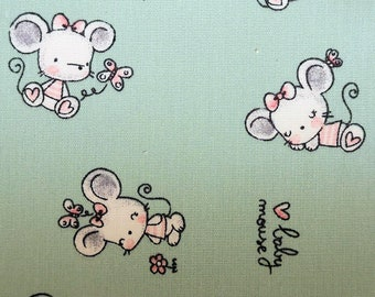 "Baby Mouse on Mint Green - Print - 100% Cotton Poplin Dress Fabric - Metre/Half - 60"" (150cm) wide"
