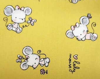 "Baby Mouse on Yellow - Print - 100% Cotton Poplin Dress Fabric - Metre/Half - 60"" (150cm) wide"