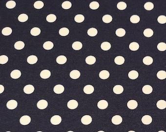 """Ivory Spot on Navy Blue - Ponte Roma Print Stretch Soft Knit Jersey Fabric - 150cm Wide (59"""")"""
