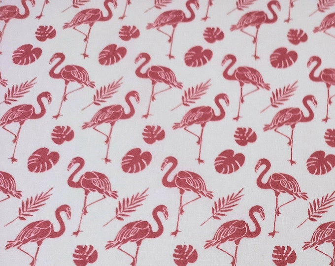 "Featured listing image: Rose Pink Flamingos on White - 100% Cotton Poplin Dress Fabric - Metre/Half - 44"" (112cm) wide"