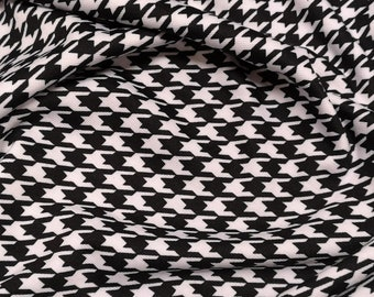 "Dogtooth Black & White - Ponte Roma Print Stretch Soft Knit Jersey Fabric - 150cm Wide (59"")"