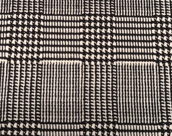 "Check Dogtooth Black/White - Ponte Roma Print Stretch Soft Knit Jersey Fabric - 150cm Wide (59"")"