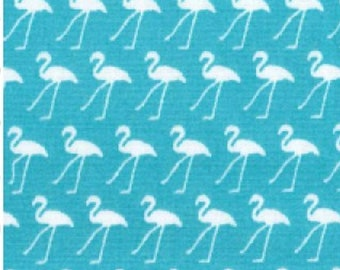 "White Flamingo in Lines on Turquoise - 100% Cotton Poplin Dress Fabric - Metre/Half - 44"" (112cm) wide"