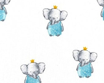 "Elephants on White - 100% Cotton Poplin Dress Fabric - Metre/Half - 60"" (150cm) wide"