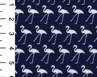 "White Flamingo in Lines on Navy Blue - 100% Cotton Poplin Dress Fabric - Metre/Half - 44"" (112cm) wide"