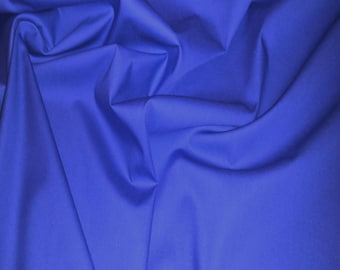 "Copen Blue - 100% Cotton Poplin Dress Fabric Material - Plain Solid Colours - Metre/Half - 44"" (112cm) wide"
