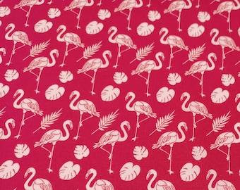 "White Flamingos on Cerise Pink - 100% Cotton Poplin Dress Fabric - Metre/Half - 44"" (112cm) wide"