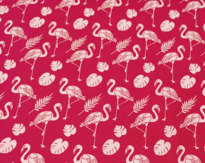 "Featured listing image: White Flamingos on Cerise Pink - 100% Cotton Poplin Dress Fabric - Metre/Half - 44"" (112cm) wide"