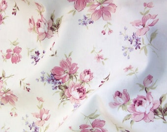 "Pink Flowers on Ivory Floral 100% Cotton Poplin Dress Fabric Material - Metre/Half - 44"" (112cm) wide"