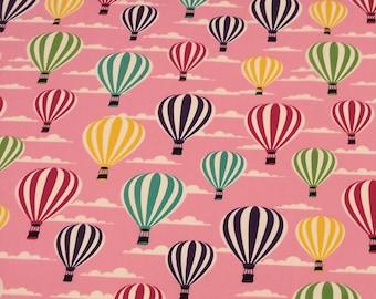 "Pink - Stripey Hot Air Balloons - 100% Cotton Poplin Dress Fabric - Metre/Half - 44"" (112cm) wide"