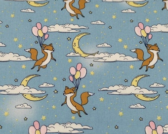 "Blue - Flying Fox with Balloons - 100% Cotton Poplin Dress Fabric - Metre/Half - 44"" (112cm) wide"