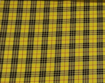 "Yellow/Black - Tartan Fabric - PolyViscose - Metre/Half - 59"" (150cm) wide"
