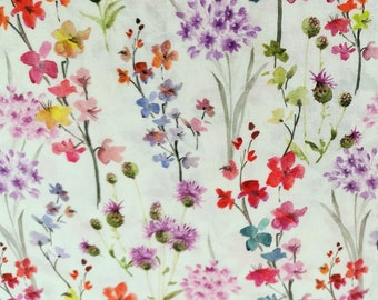 "Red Purple Flowers on White - Floral 100% Cotton Poplin Dress Fabric - Metre/Half - 60"" (150cm) wide"