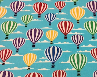 "Turquoise - Stripey Hot Air Balloons - 100% Cotton Poplin Dress Fabric - Metre/Half - 44"" (112cm) wide"