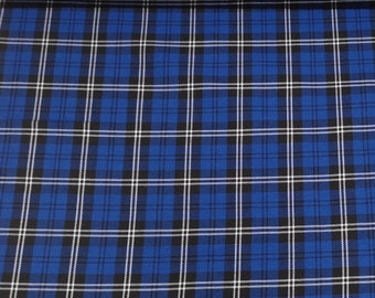 "Blue/White/Black - Tartan Fabric - PolyViscose - Metre/Half - 59"" (150cm) wide"