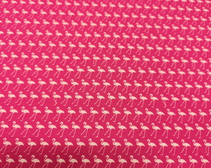 """Featured listing image: White Flamingo in Lines on Cerise Pink - 100% Cotton Poplin Dress Fabric - Metre/Half - 44"""" (112cm) wide"""