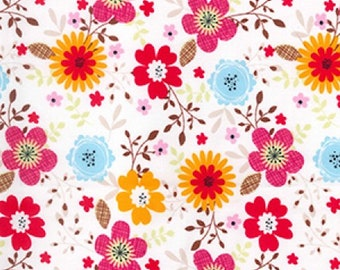 "Red/Pink/Orange/Blue Flowers on Cream - Floral 100% Cotton Poplin Dress Fabric - Material - Metre/Half - 44"" (112cm) wide"