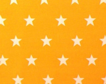 "White Stars on Yellow - 100% Cotton Poplin Dress Fabric Material - 20mm Stars - Metre/Half - 44"" (112cm) wide"