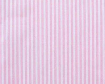 "Pink / White - 100% Cotton Poplin Dress Fabric Material - 3mm Stripe - Metre/Half - 44"" (112cm) wide"