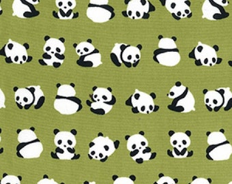"Panda Bears on Green - 100% Cotton Poplin Dress Fabric - Material - Metre/Half - 44"" (112cm) wide"