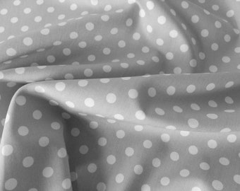 "White on Silver/Light Grey - 100% Cotton Poplin Dress Fabric Material - 7mm Polka Dot / Spot - Metre/Half - 44"" (112cm) wide"
