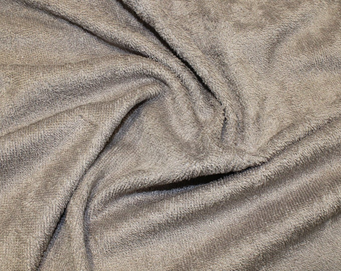 """Featured listing image: Taupe Bamboo Terry Towelling Fabric - Plain Solid Colours - Towel Material - 150cm (59"""") wide"""