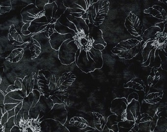 "Silver / Grey - Floral Printed Velvet - Rayon/Polyester Fabric Material - 140cm (55"") wide"