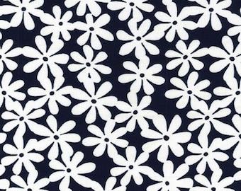 "Ivory Daisy on Navy Blue - Ponte Roma Print Stretch Soft Knit Jersey Fabric - 150cm Wide (59"")"