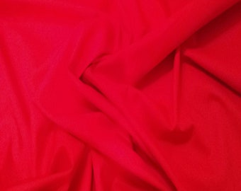 "Scarlet Red - 100% Cotton Poplin Dress Fabric Material - Plain Solid Colours - Metre/Half - 44"" (112cm) wide"