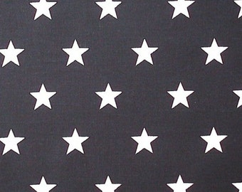 "White Stars on Black - 100% Cotton Poplin Dress Fabric Material - 20mm Stars - Metre/Half - 44"" (112cm) wide"